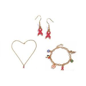 Conjunto de bijuterias Laço Rosa